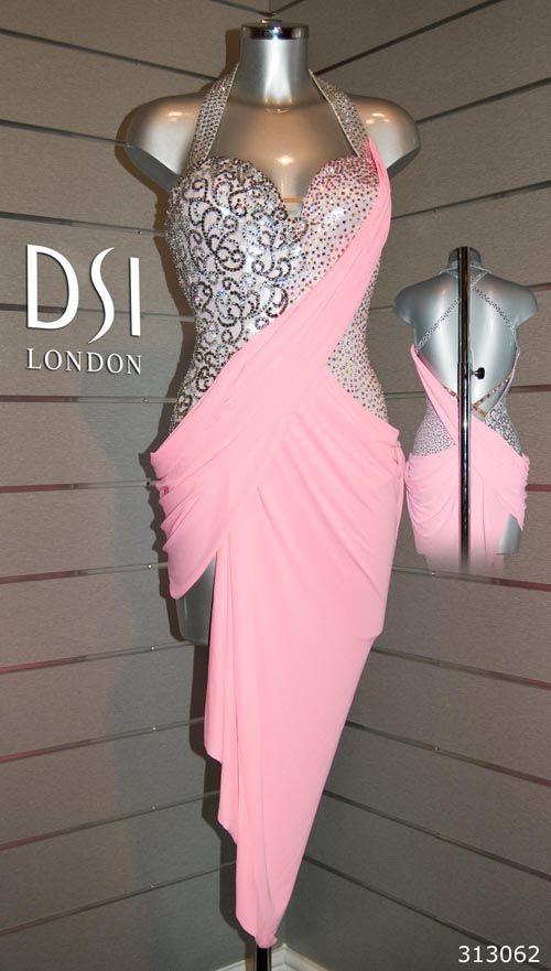 Holly Valence rose pink silver latin dress