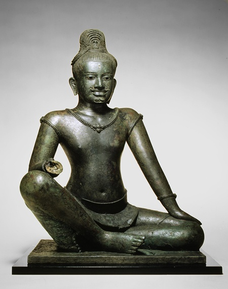 The Bodhisattva Avalokiteshvara Seated in Royal Ease, Angkor period (802–1431), late 10th–early 11th century Cambodia Copper alloy, silver inlay