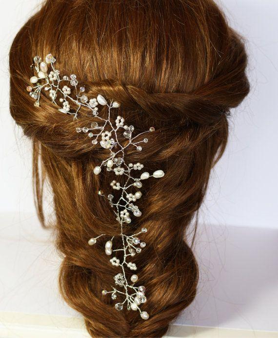 Braut Haar Rebe, Babys Atem Hochzeit Haar Rebe, Perle und Kristall Haar Rebe, Gyp Haar Rebe, Boho Braut Haar Rebe, Perle Krone, Kopfschmuck