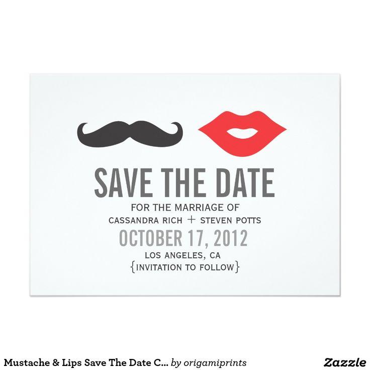 Moustache & Lips Save The Date Card 13 Cm X 18 Cm Invitation Card