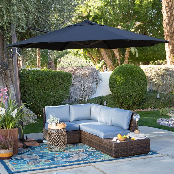 Coral Coast 11 ft. Crank and Tilt Offset Umbrella - Patio Umbrellas at Hayneedle