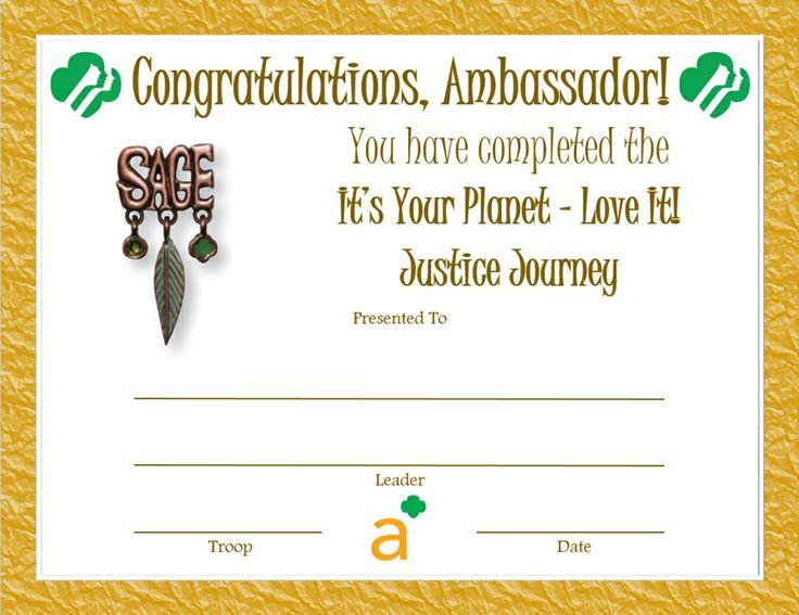 Ambassador Perfect Attendance Certificate Girl Scouts - printable certificate of attendance