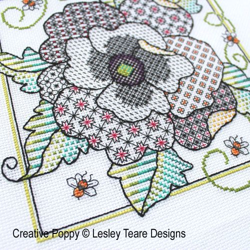 Lesley Teare Designs - Poppy Blackwork zoom 1 (cross stitch chart)