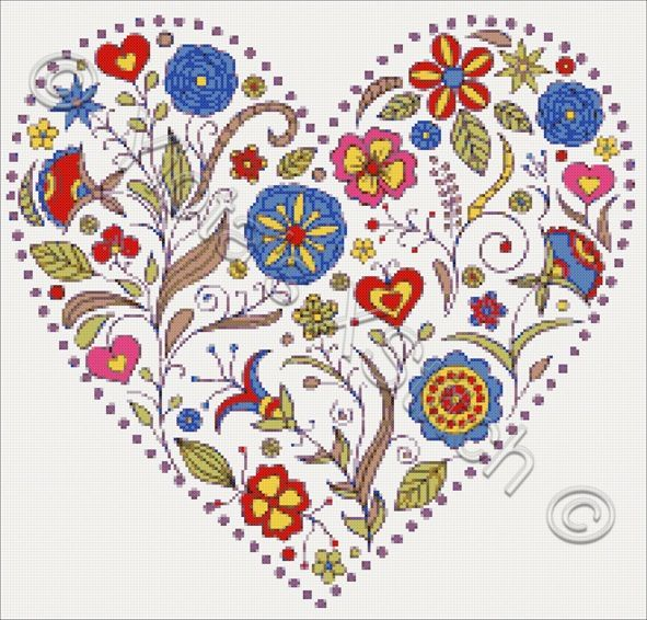 Floral heart No2 cross stitch kit | Yiotas XStitch