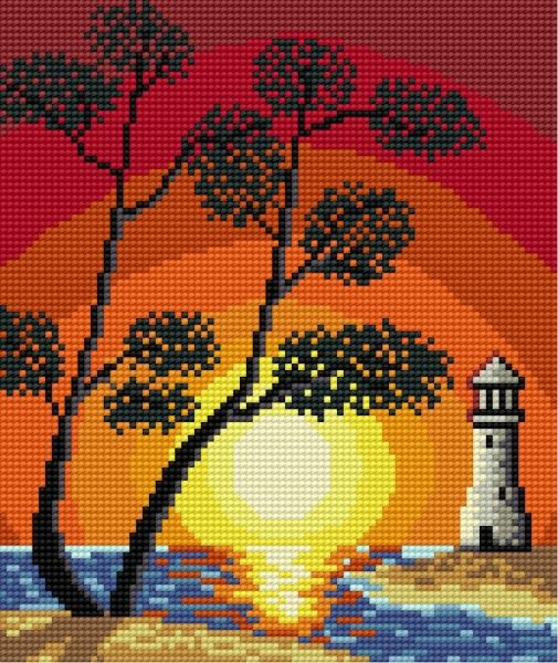 Sunset at the seaside (lighthouse)