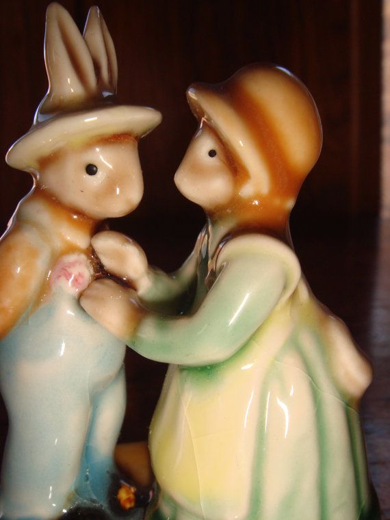 Beatrix Potter Type Porcelain Bunny Couple By Katscauldron
