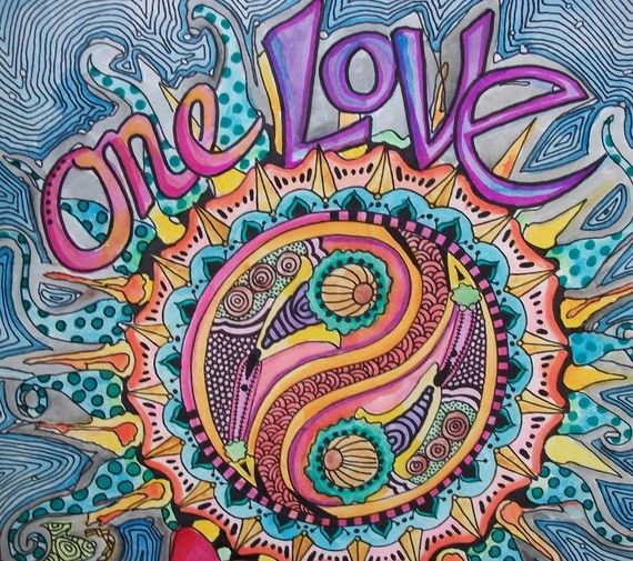 One Love Singleton Hippie Art Original by justgivemepeace on Etsy, $95.00