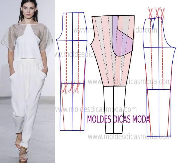 Faça a analise de forma detalhada do desenho do molde decalça franzida. Calça simples e bela, veste de forma descontraída e elegante.