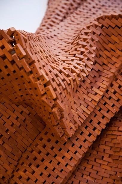 "Noor Ali Chagani, ""Life Line"" (detail) 2010. Terracotta bricks, nylon wires…"