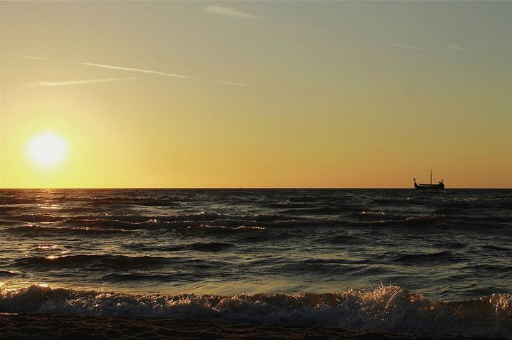 Międzyzdroje, sunset, statek, sea, baltic sea, Polska