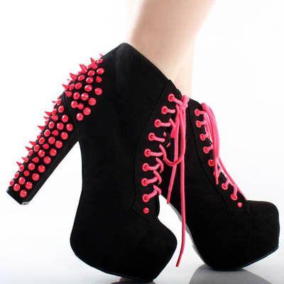 Neon Pink Studded Chunky Heel Boots | Shoes | Pinterest | Heel ...