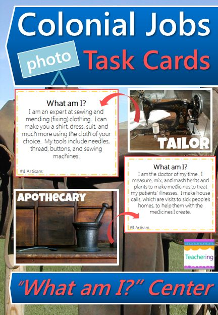 "Colonial Jobs Task Cards and vocabulary photo match.  Play as a scoot or Social Studies center. Match ""What am I"" clues to labeled photographs of colonial artisan jobs. Supports ELLs & visual learners! Colonial Artisan Jobs Included: apothecary, blacksmith, cobbler, cooper, milliner, printer, silversmith, tailor, tanner, wheelwright   Aligns to GA's 4th grade Social Studies standards. Great review and test prep!"