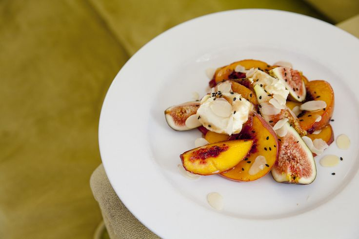 peaches and fig, ginger mascapone
