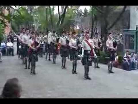 Presentación de la Banda de gaitas del Batallon de San Patricio del 4 de Mayo 2008. Salida del Museo Nacional de las Intervenciones a la plaza del batallón de San Patricio.