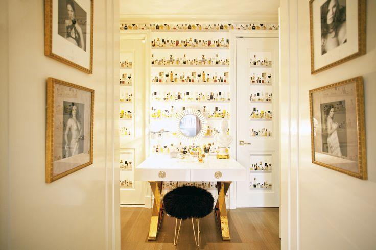 Perfume bottles display. . . Mid-Century Modern Bedroom in New York, NY by Sasha Bikoff Interior Design