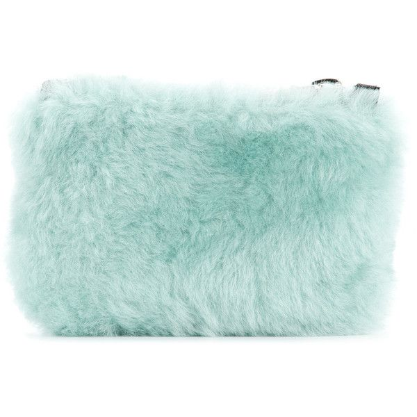 Cityshop fur clutch ($130) ❤ liked on Polyvore featuring bags, handbags, clutches, blue, green clutches, fur purse, blue clutches, blue handbags and blue purse