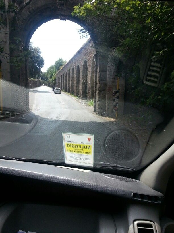 Back in the taxi. Leaving Montorio for the airport.