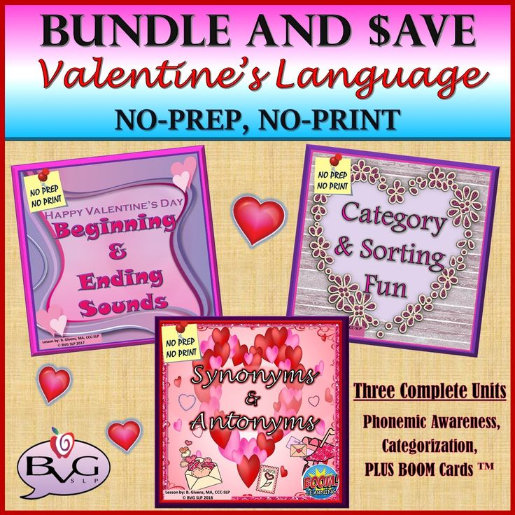 This comprehensive BUNDLE includes three complete Valentine's Day themed lessons that address phonemic awareness (beginning and ending sounds), category sorting, synonyms and antonyms and includes a fully interactive Boom Card lesson. This unit will allow for instruction and practice with vocabulary, identification of synonyms and antonyms, context clues, phonemic awareness, categorization, and sorting. All three units are full-color NO PREP, NO PRINT!