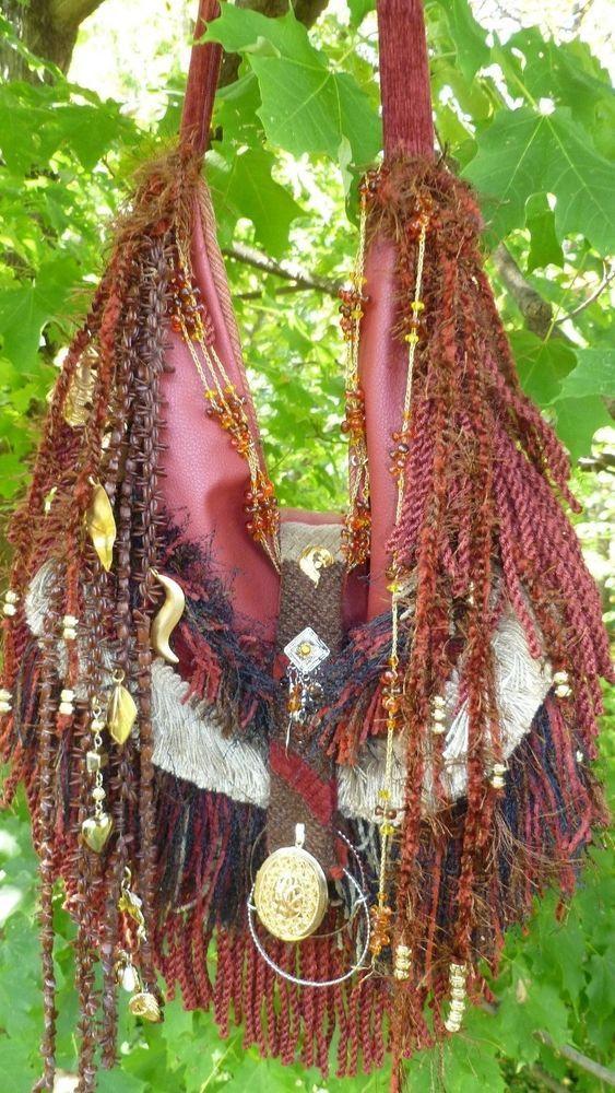 Handmade Chenille Fringe Bag Gypsy Hippie Boho Hobo  Faux Leather Brass Purse #Handmade #ShoulderBag
