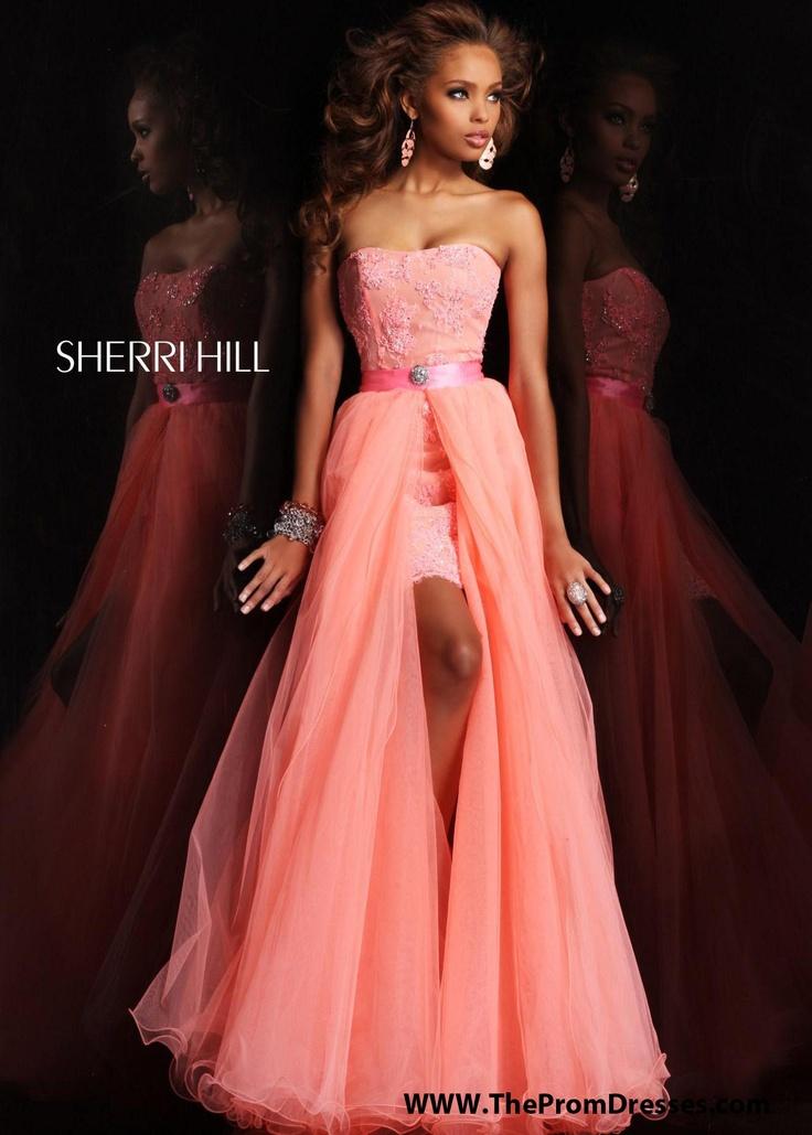 BEAUTIFUL Coral Hi Lo Prom Dress with a Detachable Skirt - Sherri Hill 21165 - ThePromDresses.com