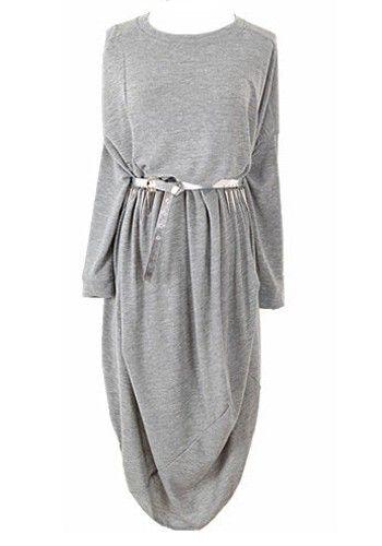 Light Gray Long Sleeve Ankle Cotton Blend Dress