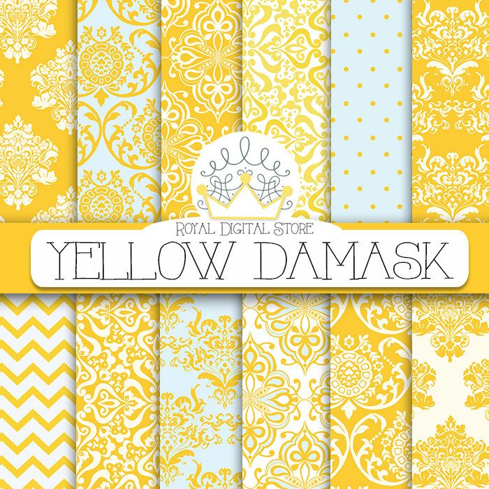 "Damask digital paper: ""YELLOW DAMASK"" with damask background, damask scrapbook paper, damask pattern, digital damask for scrapbooking, cards #yellow #damask #planner #digitalpaper #scrapbookpaper"