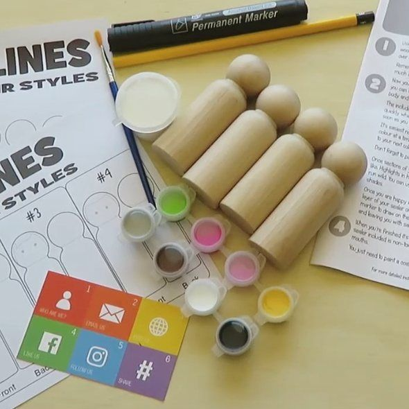 A DIY kit to paint your own peg dolls at home