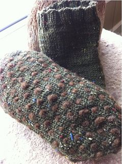 """Thrummed sole slipper socks - an excellent way to try thrums for simple comfy slipper sock. This pattern is a basic sock, top down, with addition of thrums for a soft and warm sole. The pattern accomodates, 8.5"""" to 10.5"""" circumferences and length from 9-11""""."""