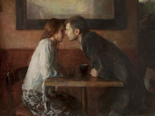 Stolen Kiss  -  Ron Hicks American painter  b.1965 Impressionism