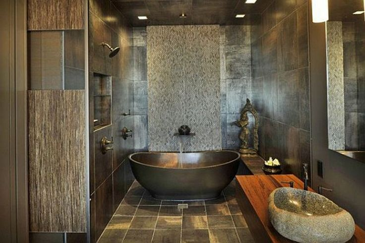 Bathroom : Asian Bathroom Ideas Fancy Floor Wall Tiles Floating Wood Vanity With Mirror Stone Sink Rainshower Showerhead Oil Rubbed Bronze High Arc Rustic Bronze Vessel Sink Faucet Waterfall Kits Recessed Ceiling Lamps Pick These Common Tile Bathroom Options Tile Bathroom. Granite Tiles. Pebble Stone.
