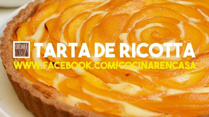 Tarta de Ricotta con Duraznos - Una tarta de ricotta con duraznos y un toque de naranja que la hacen única! Con masa integral que podés utilizarla para otras tartas dulces.  Una tarta exquisita pero peligrosa, una vez que la probás no podés parar de comerla!