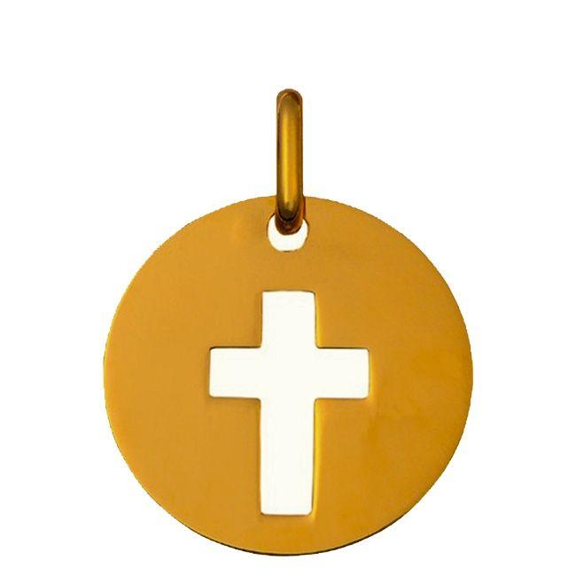 Medaille de bapteme en or, Jeton croix ajouré : Maison La Couronne