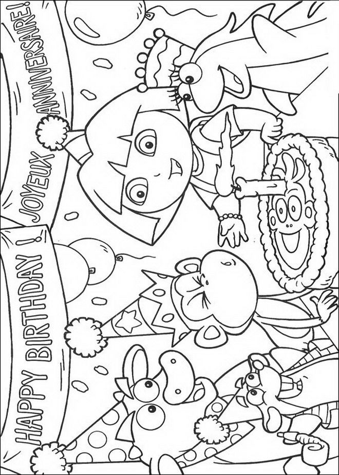 Happy Birthday Coloring Page From Dora The Explorer Category Select 28148 Printable Crafts Of Cartoons Nature Animals Bible And Many More