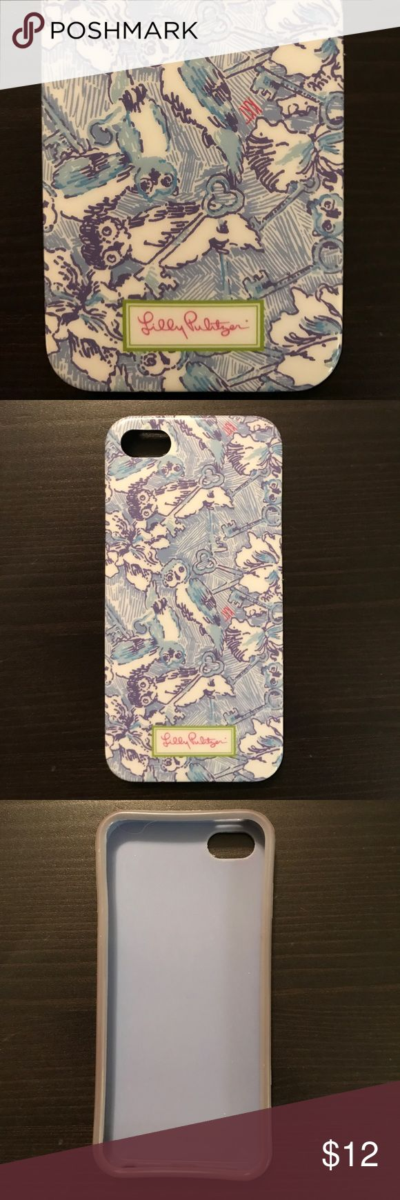 KKG Lilly Pulitzer 5S phone case Lilly Pulitzer Kappa Kappa Gamma phone case covered in light/dark blue owls and keys with small KKG lettering! Bumper edge to avoid cracked screens! Fits iPhone 5S 🔑🗝💙 Lilly Pulitzer Accessories Phone Cases