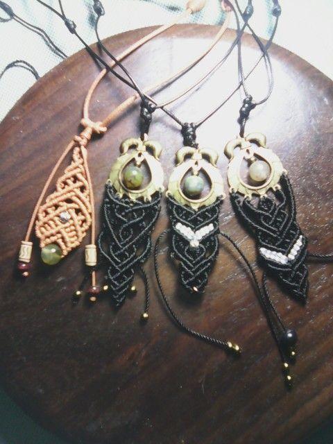 Macrame pendant  necklaces
