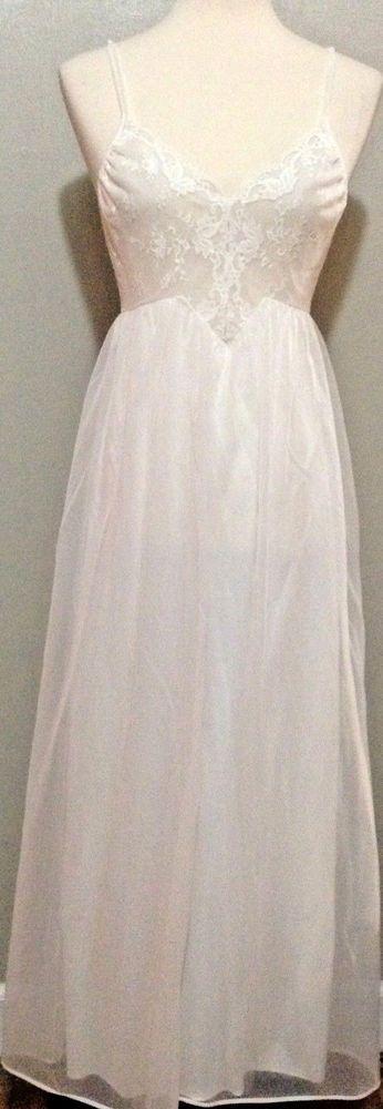 Vintage Shadowline nylon sheer lace nightie night gown dress lingerie peignoir S #Shadowline
