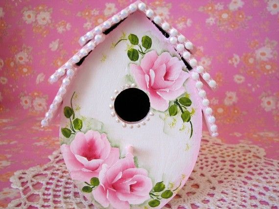 Victorian+cottage+birdhouses | Victorian Birdhouse Hand Painted Cottage Chic Pink by pinkrose1611
