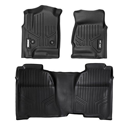 MAXFLOORMAT Floor Mats for Chevrolet Silverado / GMC Sierra Crew Cab (2014-2017) Complete Set (Black). For product info go to:  https://www.caraccessoriesonlinemarket.com/maxfloormat-floor-mats-for-chevrolet-silverado-gmc-sierra-crew-cab-2014-2017-complete-set-black/