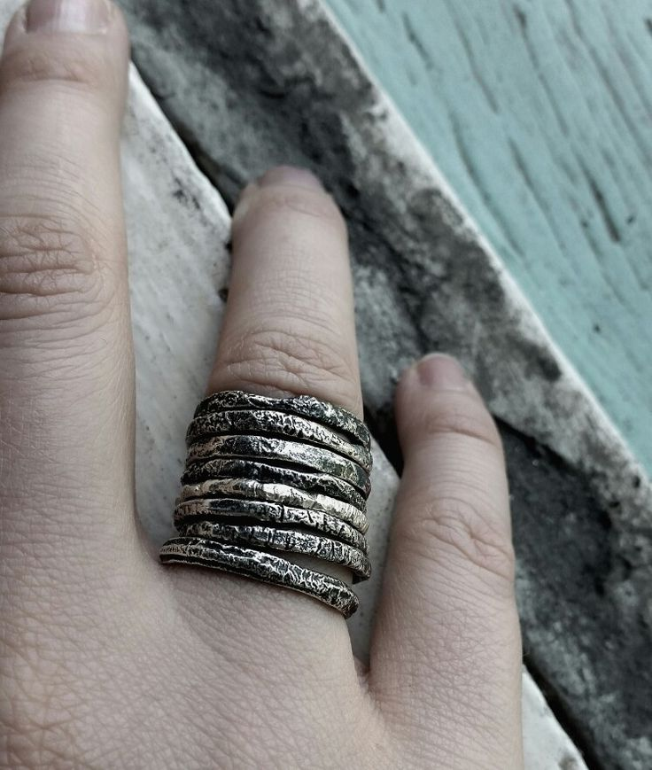 Gritty sterling silver stacking rings by Stephanie Rachael Jewellery