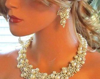 Joyería nupcial conjunto pendientes de novia babero por GlamDuchess