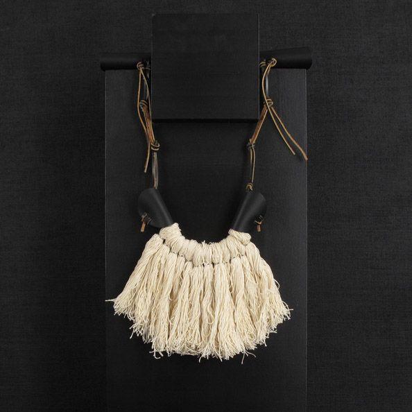 Necklace, fringe necklace, white fringe, leather necklace, tribal