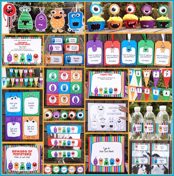 New Monster Bash Invitation & Printable Birthday Party Collection. I love these from SimoneMadeIt because they're instant download and you can customize all the pieces (you don't have to email them and wait for customized printables to be sent to you. You can change your mind and edit until you have it perfect.)