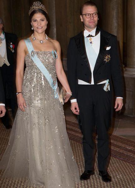 Kronprinsessan Victoria och prins Daniel på kungens Nobelmiddag 2013.
