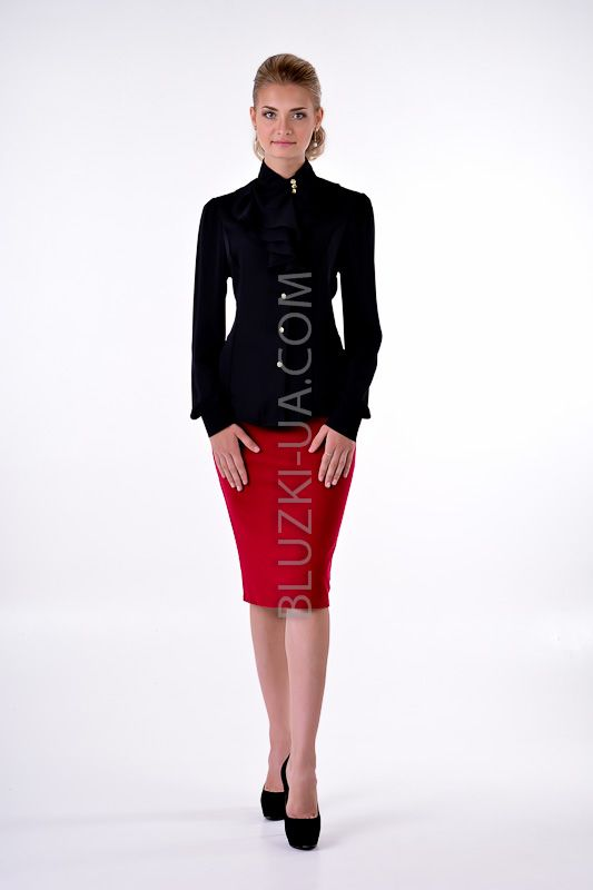 Черная блузка из шифона с ассиметричным воротником-жабо и золотистыми пуговицами, купить онлайн. Интернет-магазин БЛУЗКИ UA, Украина - женская одежда и женские блузы.