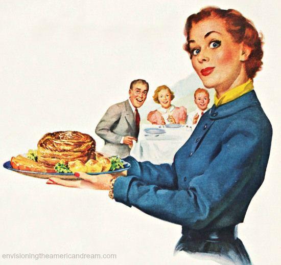 Vintage illustration 1950s Housewife holding a roast