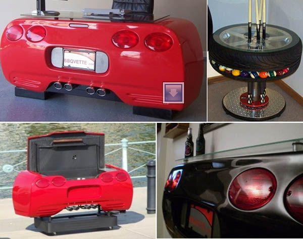 Corvette Furniture Corvette Car Desk and Bar for the Man Cave