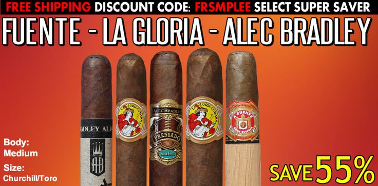 The Fuente La Gloria Alec Bradley cigar Sampler is Loaded with Premium Cigars like Arturo Fuente, La Gloria Cubana 758, Alec Bradley Prensado, Black Market.