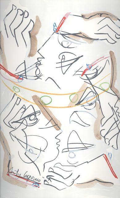 Borges todo el año: Jorge Luis Borges: Los espejos - Ilustraciones de Santiago Cogorno para Los Espejos En Cinco Poemas, Buenos Aires, PROA, 1986