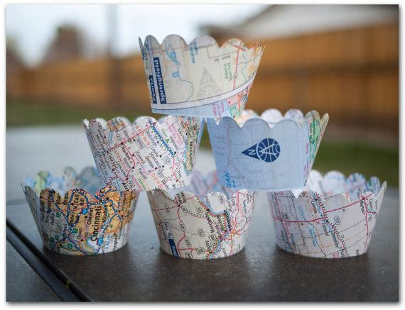 12 Map Cupcake Wrappers -Map paper - Party Supplies- Going away, Wedding, Birthday, Bridal Shower, Baby shower - Ready to ship