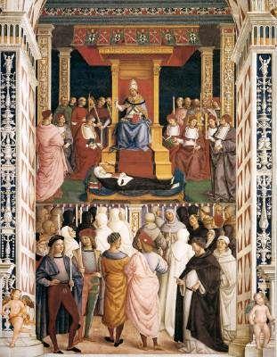 The Canonization of Catherine of Siena by Pope Pius II - Pinturicchio.  1502-08.  Fresco.  Piccolomini Chapel, Siena Cathedral, Siena, Italy.